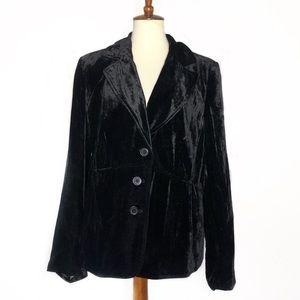 Lane Bryant • Black Velvet 3 button blazer jacket